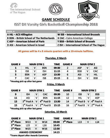 ISST Girls Schedule